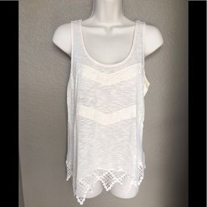 Monteau Tank Top with Crochet Detail -Size Large